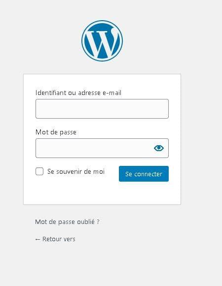 formulaire de connexion à l'administration wordpress