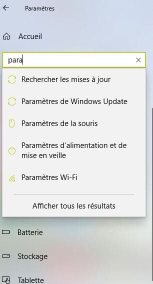 Paramètres d'alimentation windows 10