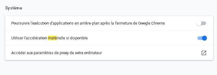 Menu Système Google Chrome