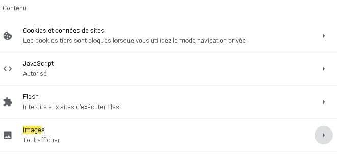 Menu contenu Google Chrome
