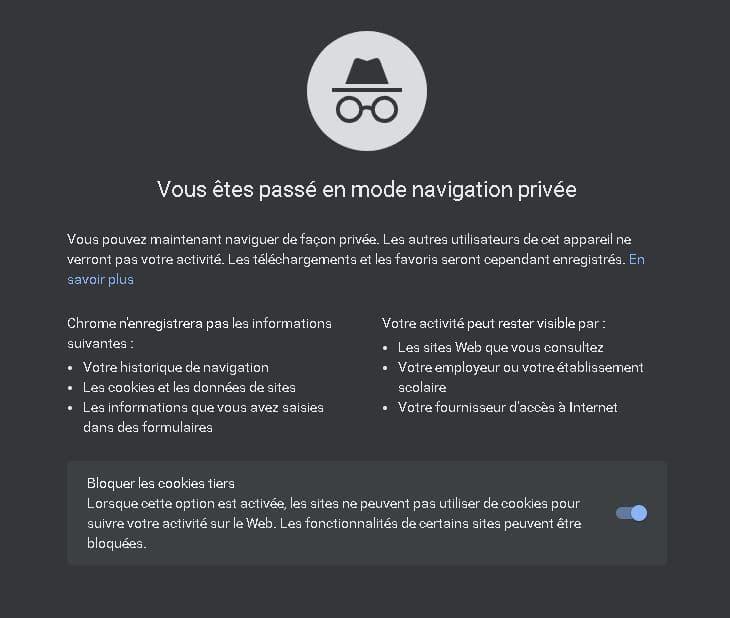 navigation privée Google Chrome